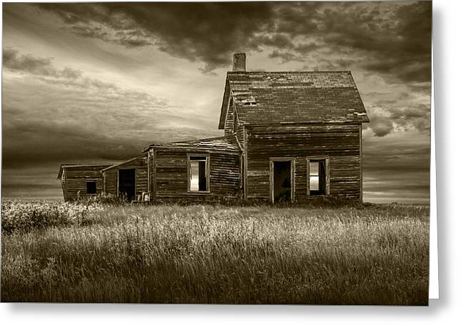 Sepia Tone Of Abandoned Prairie Farm House Greeting Card