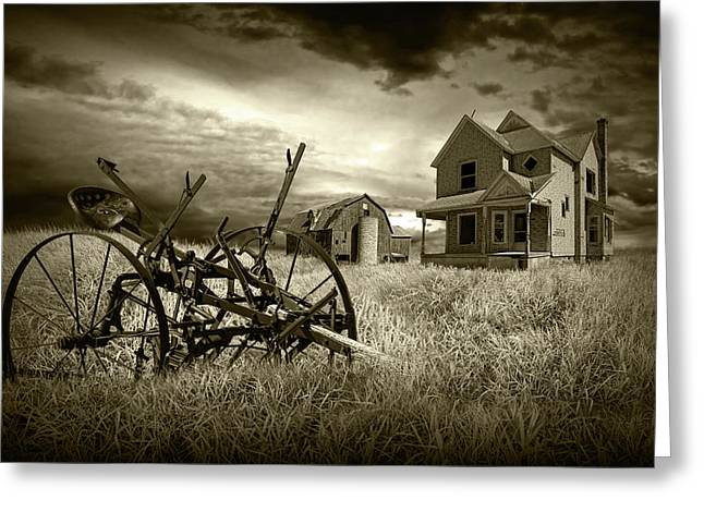 Sepia Tone Of The Decline Of The Small Farm Greeting Card