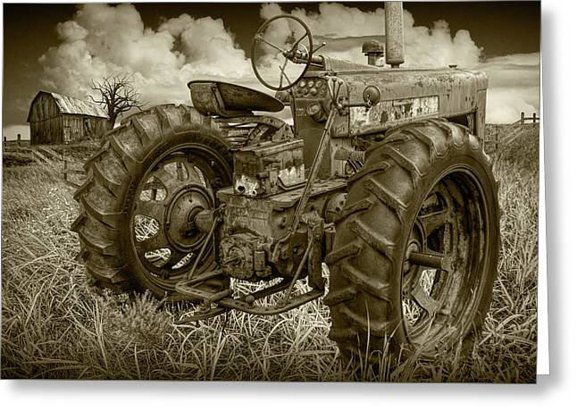 Sepia Toned Old Farmall Tractor In A Grassy Field Greeting Card