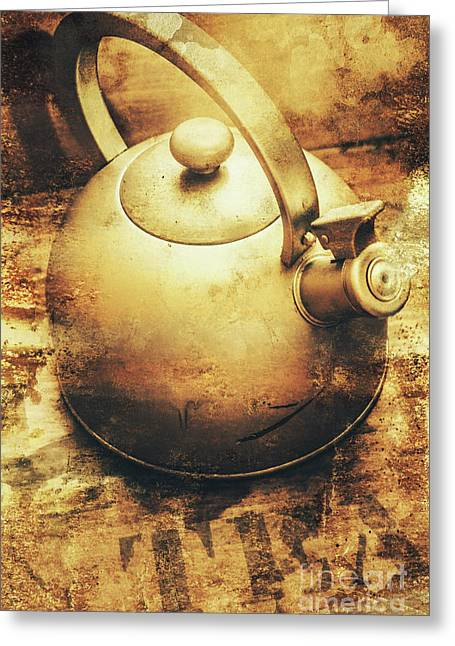 Sepia Toned Old Vintage Domed Kettle Greeting Card
