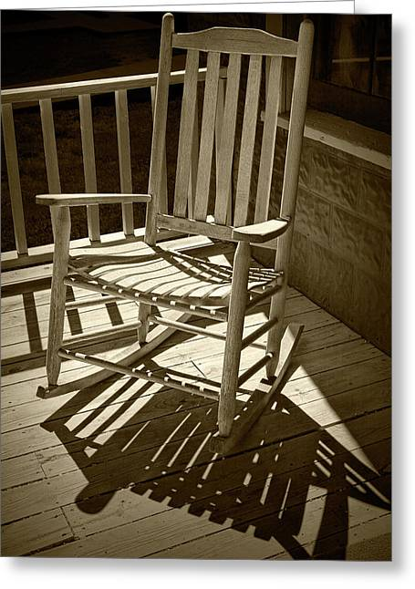 Sepia Toned Old Wooden Rocking Chair And Shadows Greeting Card