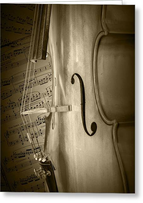 Sepia Toned Photo Of A Cello With Sheet Music Greeting Card