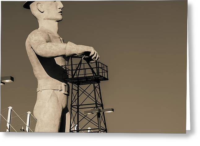 Greeting Card featuring the photograph Sepia Tulsa Driller - Oklahoma by Gregory Ballos