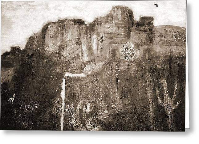 Sepia Version Of Mesa Painting Greeting Card by Anne-Elizabeth Whiteway