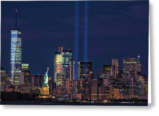 Greeting Card featuring the photograph September 11tribute In Light by Emmanuel Panagiotakis