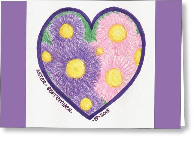 September Aster Heartgarden Greeting Card by Barbara Bellissimo