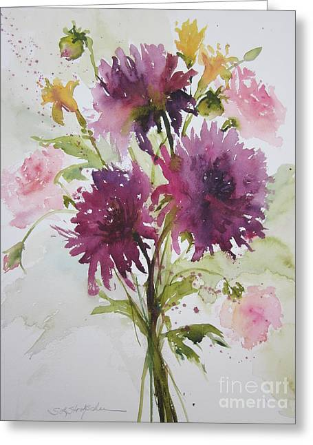 September Dahlias Greeting Card