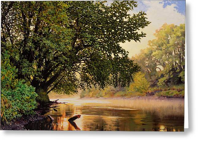 September Dawn, Little Sioux River - Studio Painting Greeting Card