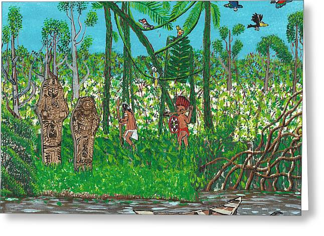 September   Hunters In The Jungle Greeting Card