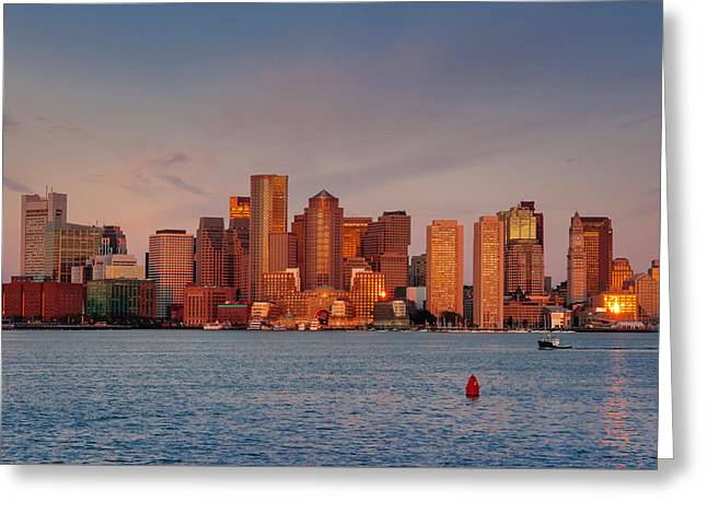 September Sunrise Over Boston, Boston, Massachusetts Greeting Card