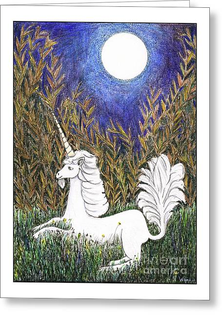 Greeting Card featuring the painting September Unicorn by Lise Winne