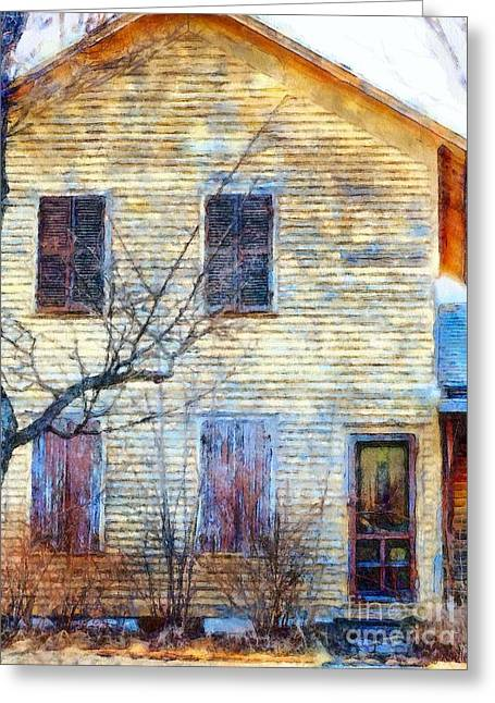 Greeting Card featuring the photograph September's Gone - Yellow Farmhouse Windows by Janine Riley