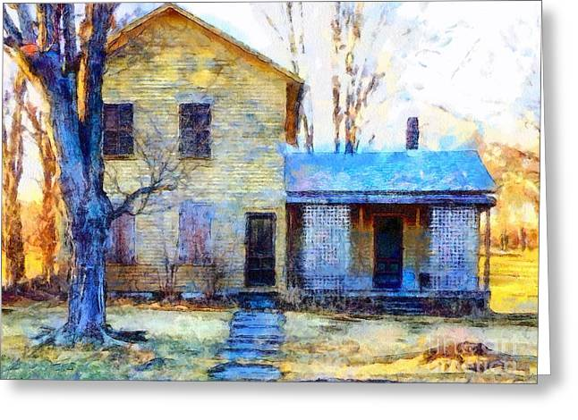 Greeting Card featuring the photograph September's Song - Yellow Farmhouse  by Janine Riley