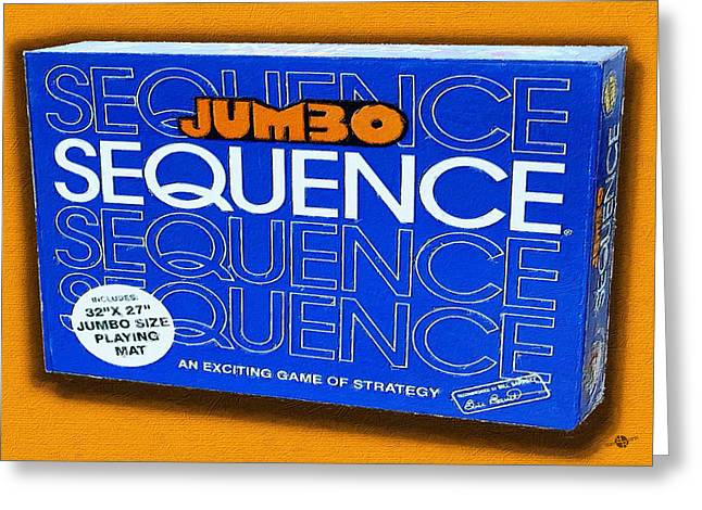 Sequence Board Game Painting Greeting Card by Tony Rubino