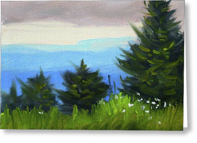 Greeting Card featuring the painting Sequim Vista by Nancy Merkle