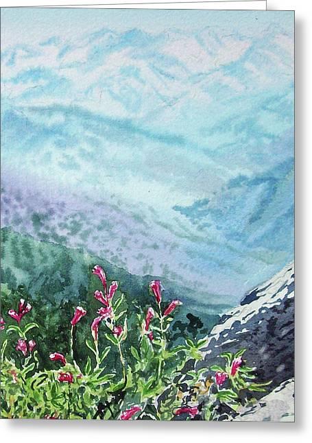 Mountain Flowers Greeting Cards - Sequoia Mountains Greeting Card by Irina Sztukowski