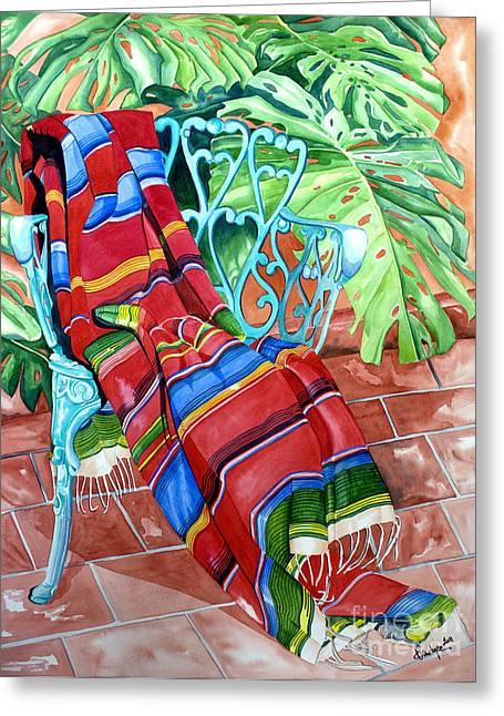 Serape On Wrought Iron Chair I Greeting Card