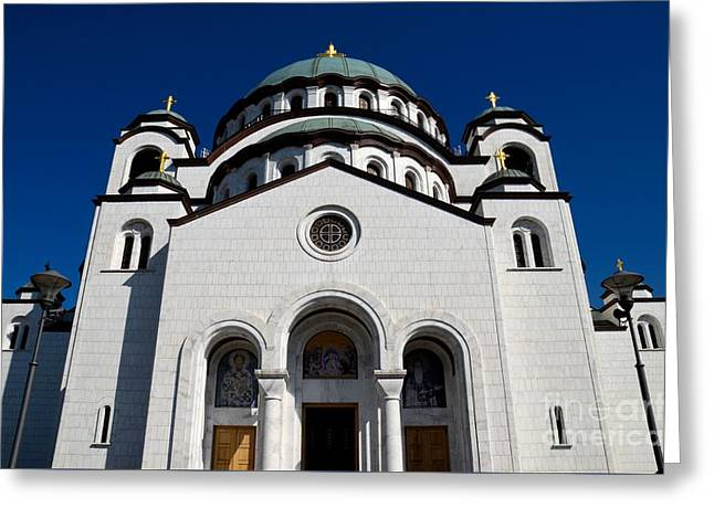 Serb Orthodox Cathedral Church Of St Sava Belgrade Serbia Greeting Card by Imran Ahmed