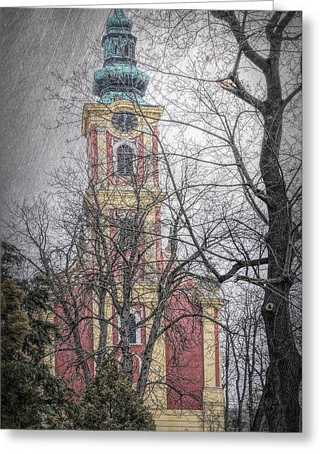 Serbian Orthodox Cathedral II Greeting Card by Joan Carroll