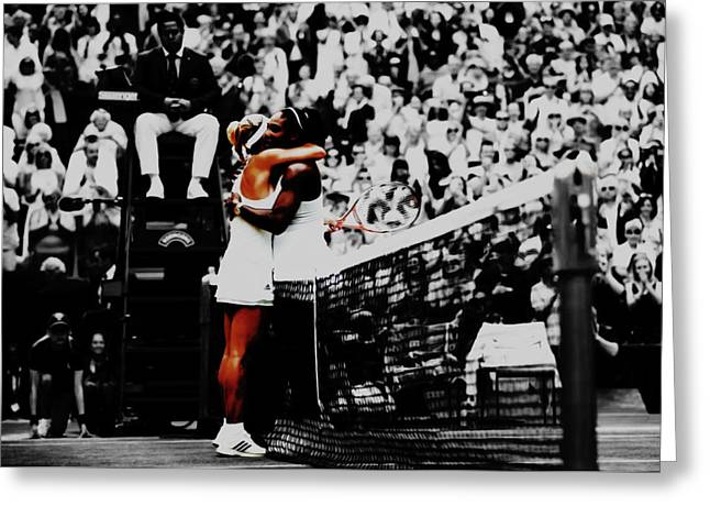 Serena Williams And Angelique Kerber Greeting Card by Brian Reaves