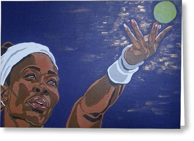 Greeting Card featuring the painting Serena Williams by Rachel Natalie Rawlins