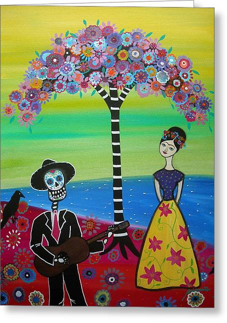 Serenading Frida Greeting Card by Pristine Cartera Turkus