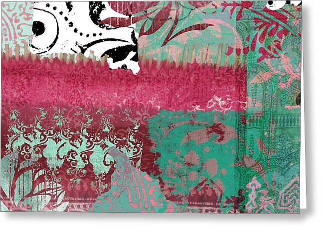Serendipity Damask Batik I Greeting Card by Mindy Sommers