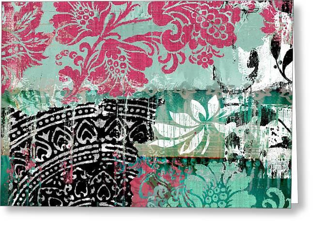 Serendipity Damask Batik II Greeting Card by Mindy Sommers