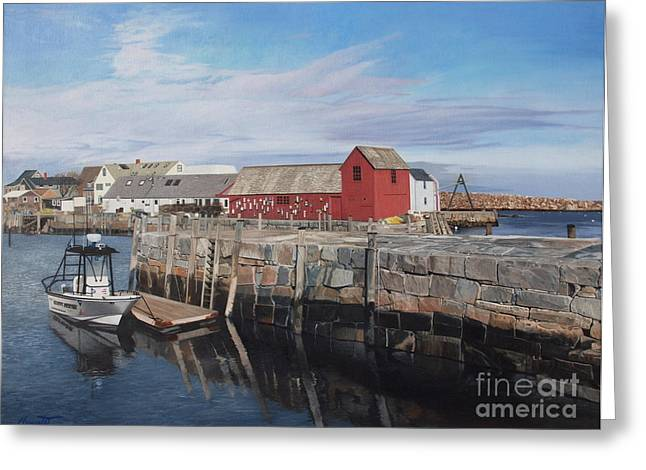 Serene Afternoon At Rockport Harbor    Greeting Card