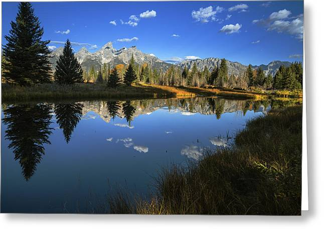 Serene Autumn Morning At Grand Tetons Greeting Card by Vishwanath Bhat