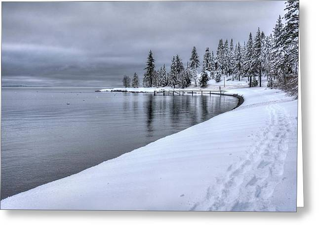 Serene Beauty Of Lake Tahoe Winter Greeting Card