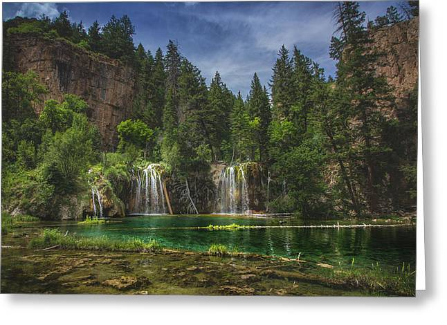 Serene Hanging Lake Waterfalls Greeting Card