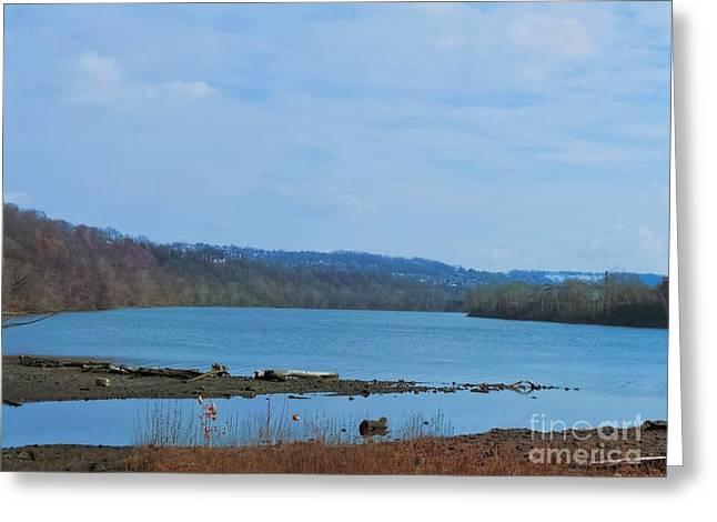 Serene River Landscape Greeting Card