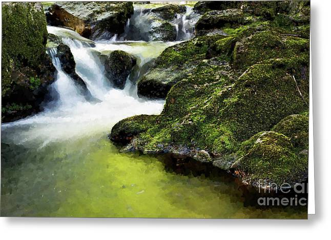 Serene Waterfall Greeting Card by MS  Fineart Creations