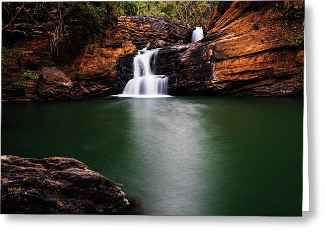 Serene Waterfalls Greeting Card by Vishwanath Bhat
