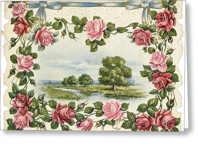 Serene Waterside Landscape In Rose Greeting Card by Gillham Studios