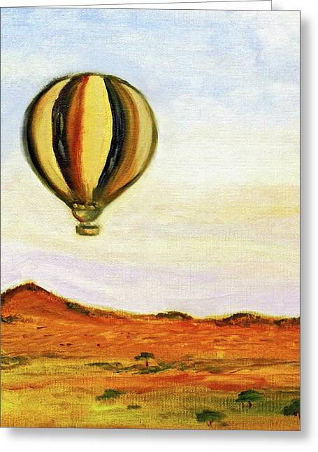 Greeting Card featuring the painting Serengeti Balloon Ride by Kara Evelyn-McNeil