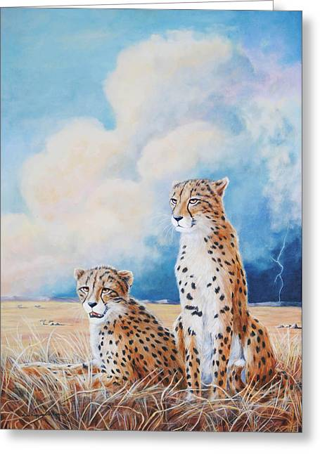 Greeting Card featuring the painting Serengeti Strikes by DiDi Higginbotham