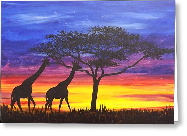 Serengeti Sunset Greeting Card by Darren Robinson