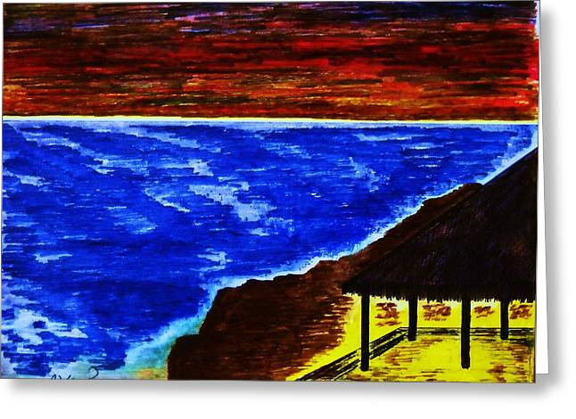 Shack Mixed Media Greeting Cards - Serenity Greeting Card by Adolfo hector Penas alvarado