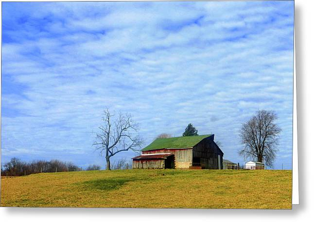 Serenity Barn And Blue Skies Greeting Card