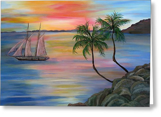 Serenity Bay Greeting Card by Mikki Alhart
