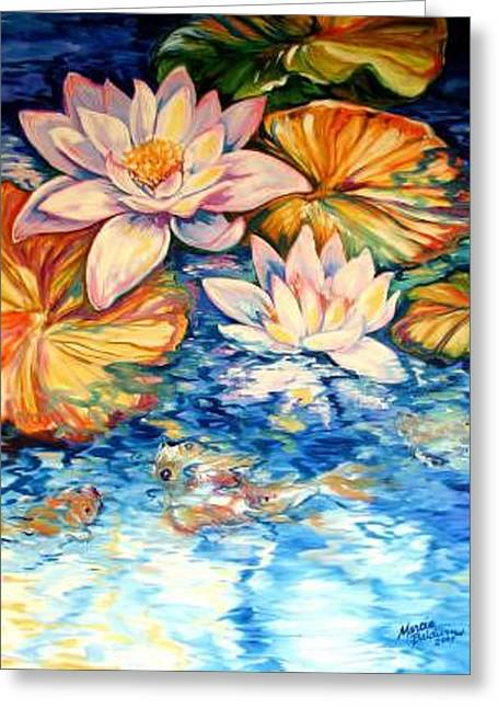 Serenity By M Baldwin A Water Lily Koi Pond Original Greeting Card by Marcia Baldwin