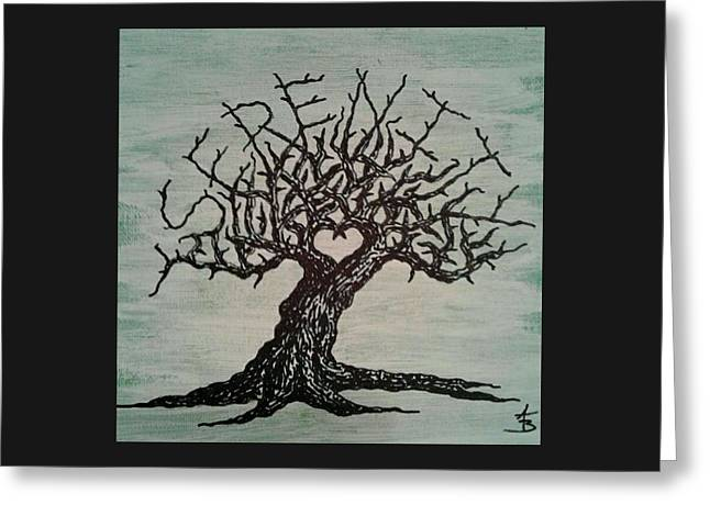 Greeting Card featuring the drawing Serenity Love Tree by Aaron Bombalicki