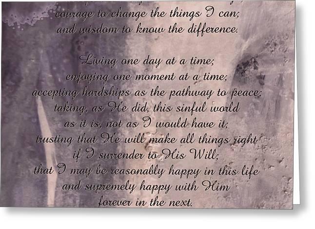 Serenity Prayer 2 Greeting Card by Andrea Anderegg