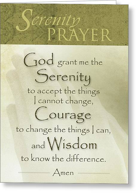 Serenity Prayer With Praying Hands Greeting Card
