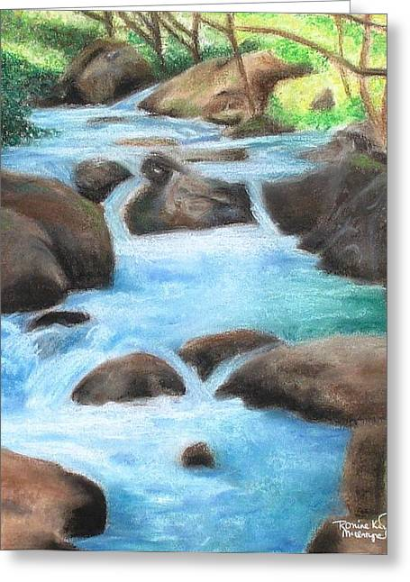 Whitewater Pastels Greeting Cards - Serenity Stream Greeting Card by Ronine McIntyre