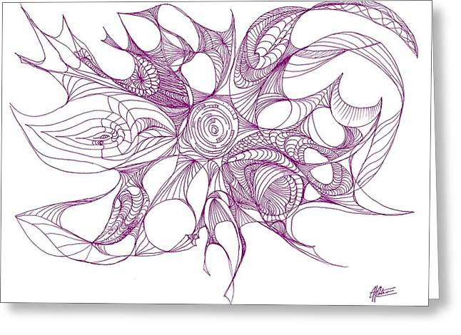 Serenity Swirled In Purple Greeting Card by Charles Cater