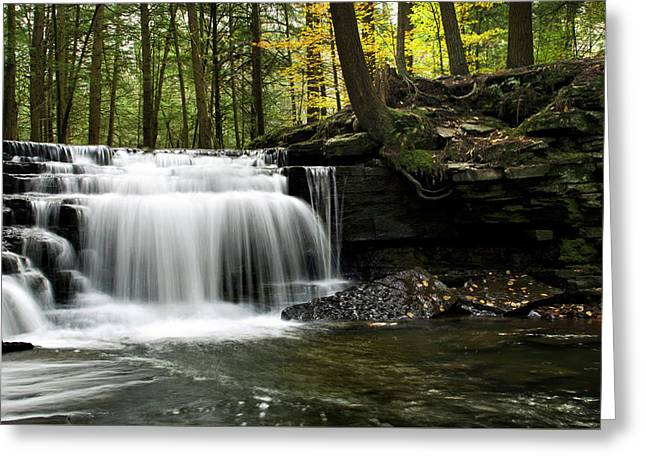 Greeting Card featuring the photograph Serenity Waterfalls Landscape by Christina Rollo