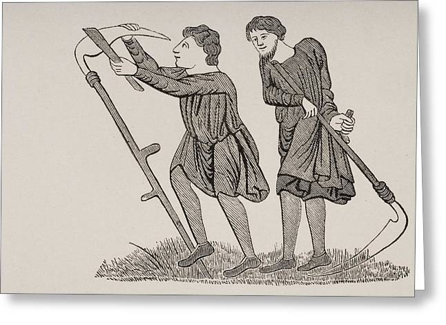Serfs Labouring Fields With Scythes Greeting Card